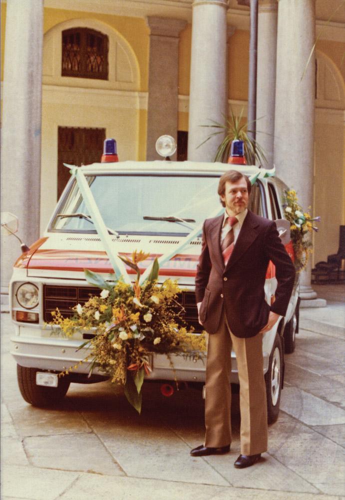 1979 - Inaugurazione veicoli presso Il Municipio di Lugano, con il direttore Carlo Casso