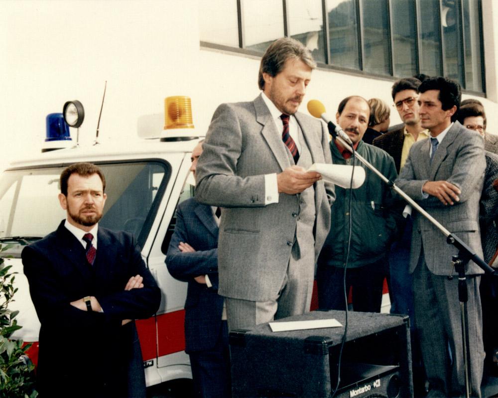 1987 - Il presidente Gianmaria Solari inaugura la nuova sede di Pregassona