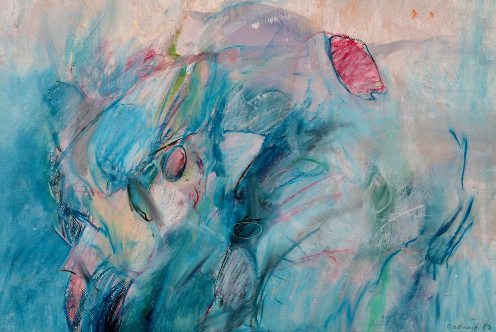 Al Fadhil - Astratto, 1983. Pastello su carta, 43 x 63 cm. Donazione Galleria Tonino, Campione d'Italia. CHF 700.--