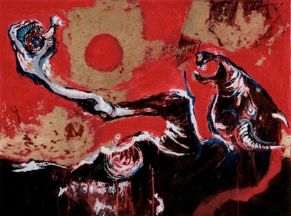 Nag Arnoldi - Minotauro, 2005. Incisione con foglia d'oro, 48 x 64 cm. CHF 3'000.--