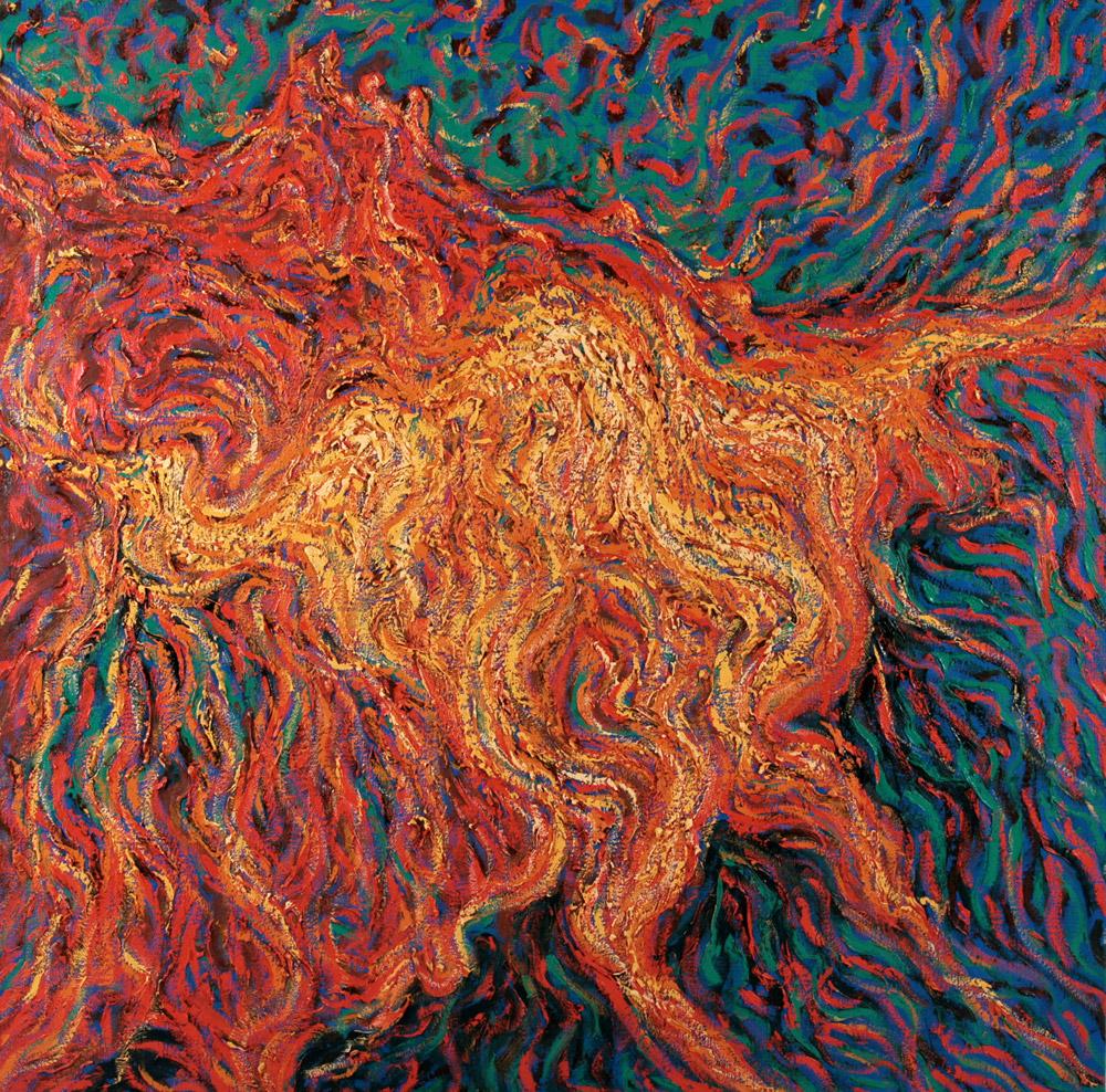 Gianluigi Bellei - Leucociti, 1986. Olio su tela, 150 x 150 cm. CHF 5'500.--