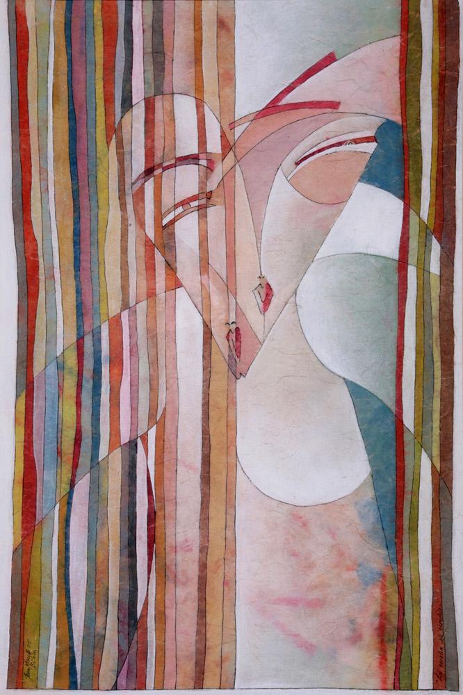 Jean Marc Bühler - La sorella dell'ospedale, 2005. Tempera su carta giapponese, 80 x 65 cm. CHF 1'800.--