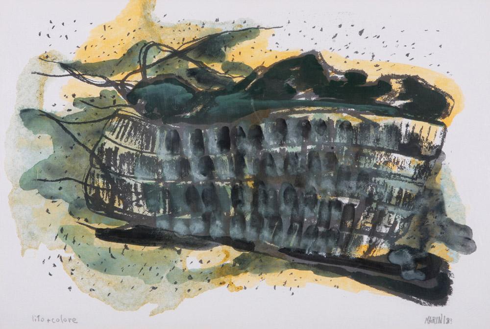 Mirella Marini - Tracce, 1989. Lito con intervento, 34 x 49. CHF 1'000.--