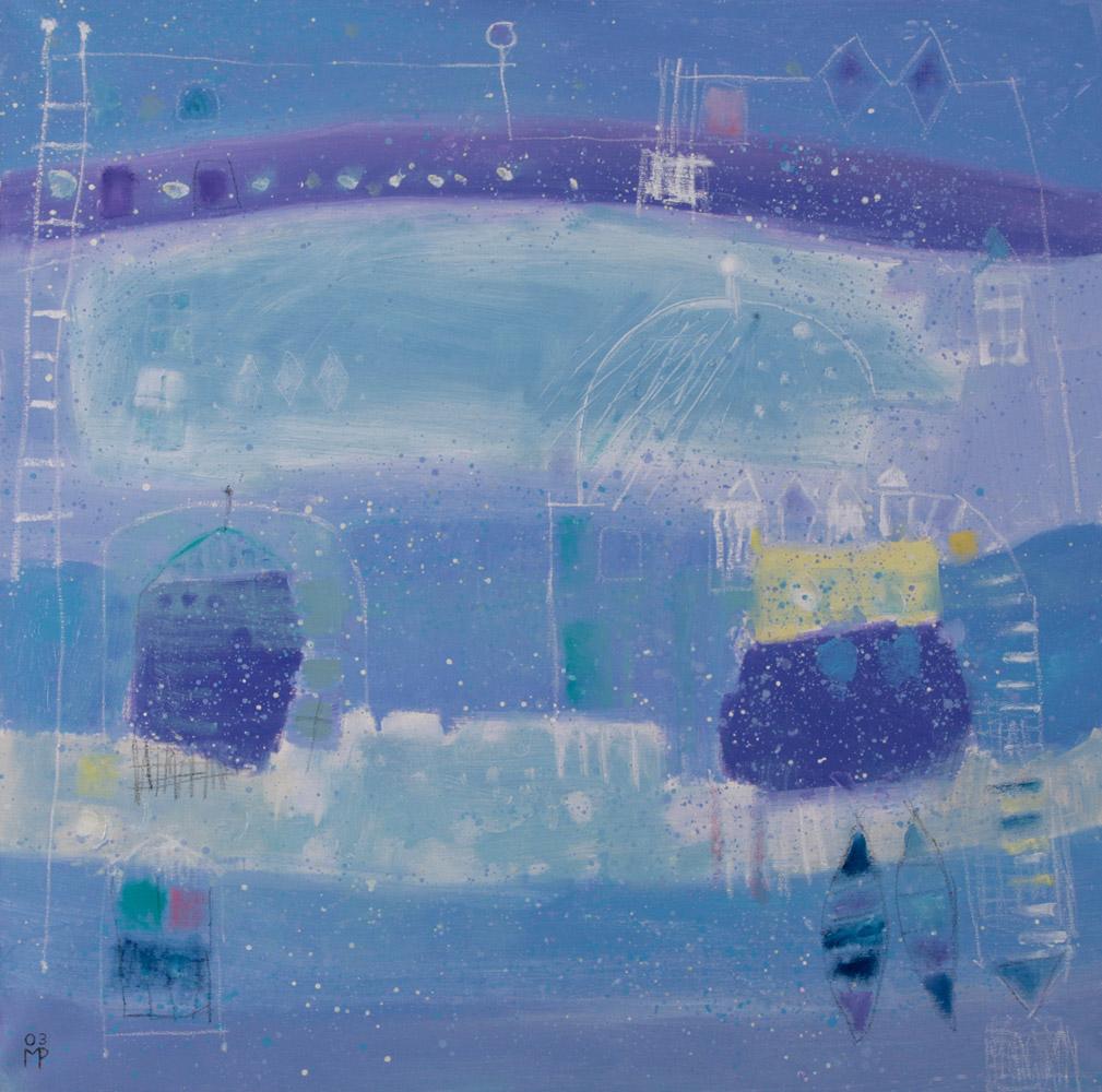 Margaret Perucconi - Santorini, 2003. Olio su tela, 90 x 90 cm. CHF 3'000.--