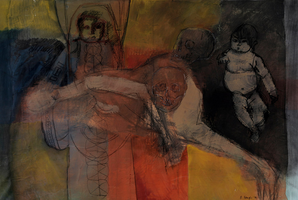 Manuela Petraglio - Vita e morte, 1999. Tecnica mista su carta intelata, 76 x 112 cm. CHF 2'000.--