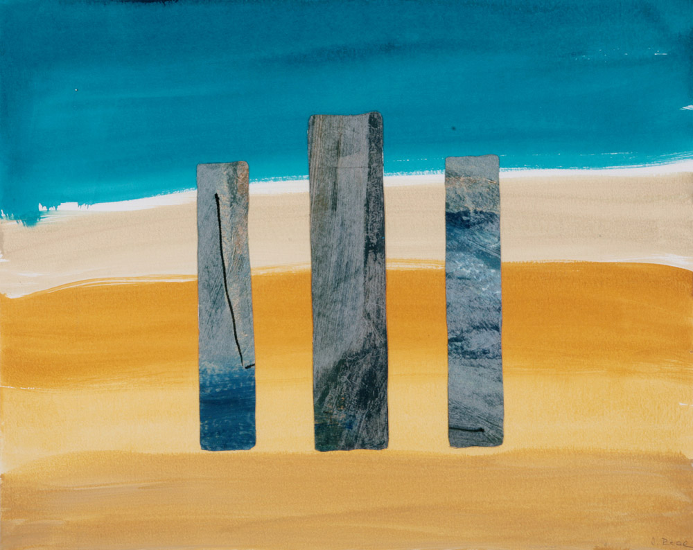 Jacqueline Real - Three columns, 2003. Acquarello e collage su carta, 74 x 93 cm. CHF 1'800.--