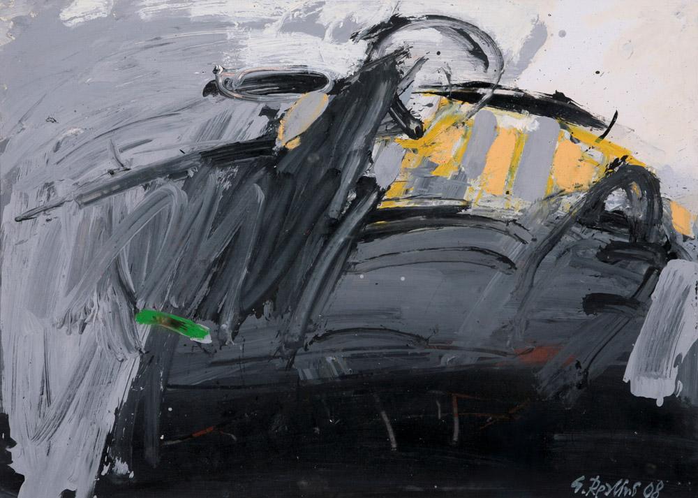 Gianni Realini - Figura paesaggio, 2008. Olio su carta, 50 x 70 cm. 2'000.--