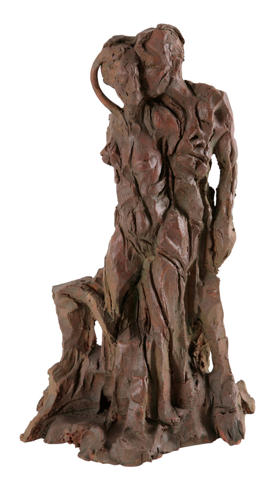Gabriela Spector - Abbraccio, 1999. Terracotta policroma, 42 x 29 x 20 cm. CHF 2'200.--