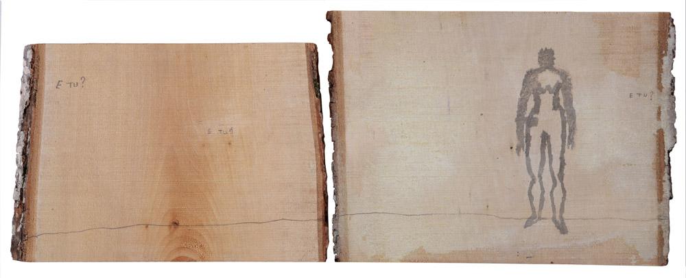 Francesco Vella - Pensiero Naif, 2009. Acrilico e matita su legno, 23 x 29 e 23 x 31 cm. CHF 2'200.--