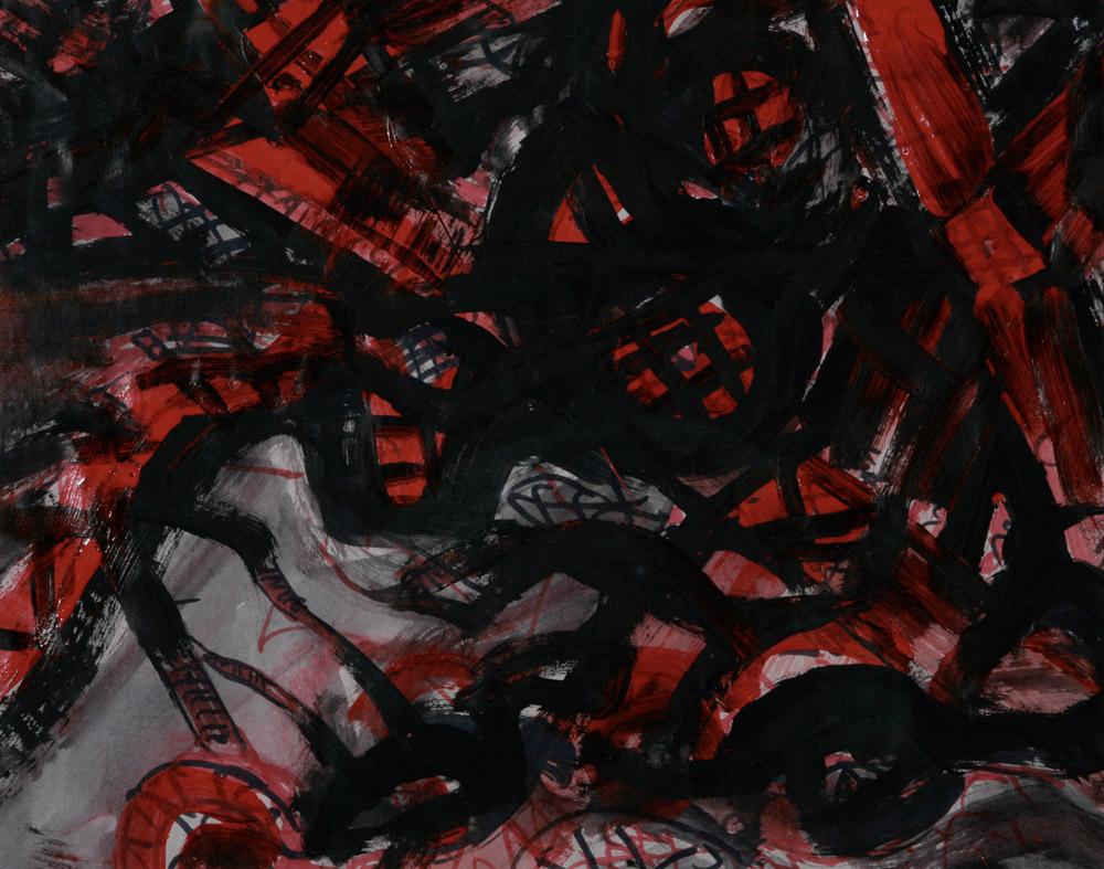 Flavia Zanetti - Le torri gemelle 1, 2001. Acrilico smalto e grafite su carta, 46 x 36 cm. CHF 400.--
