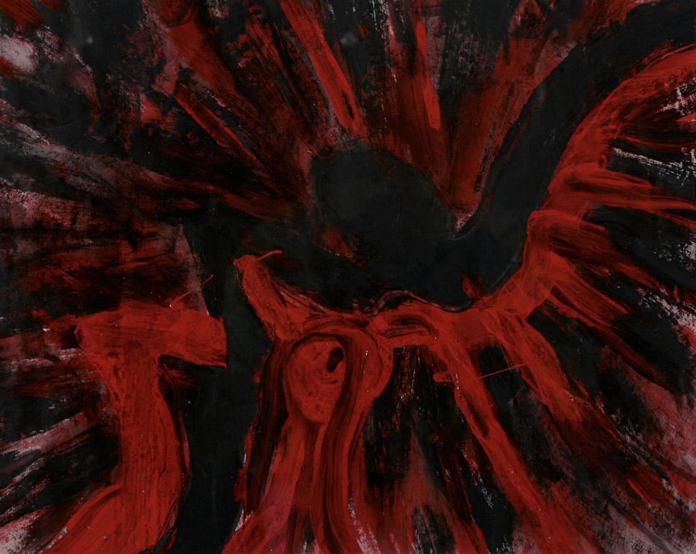 Flavia Zanetti - Le torri gemelle 2, 2001. Acrilico smalto e grafite su carta, 36 x 46 cm. CHF 400.--